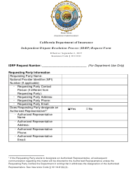 """""""Independent Dispute Resolution Process (Idrp) Request Form"""" - California"""