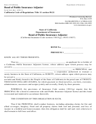 "Form 94A ""Bond of Public Insurance Adjuster"" - California"