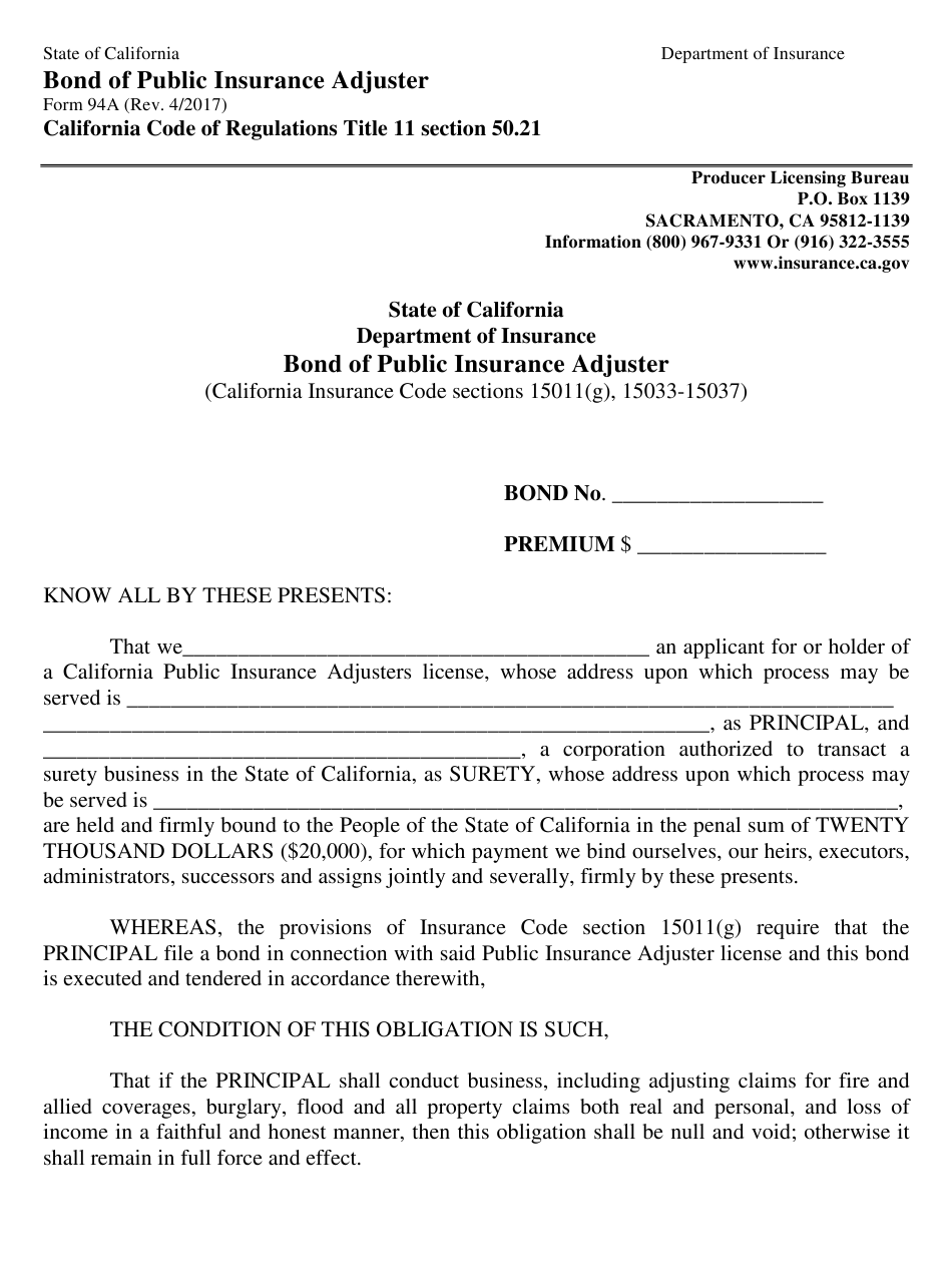 Form 94a Download Fillable Pdf Or Fill Online Bond Of Public Insurance Adjuster California Templateroller
