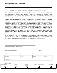 "Form EB17-003 ""Civilian Complaint Advisory"" - California"