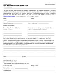"Form EB18-008 ""Civilian Commendation of Employee"" - California"