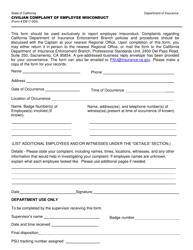 "Form EB17-004 ""Civilian Compliant of Employee Misconduct"" - California"