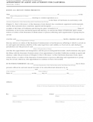 Form CDI-076 Appointment of Agent and Attorney for California - California