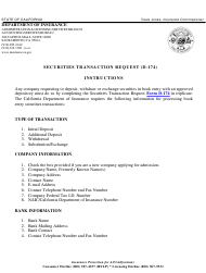 """Instructions for Form D-174 """"Securities Transactions Request"""" - California"""