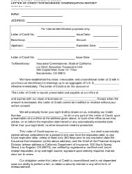 Form CDI-070 Letter of Credit for Workers' Compensation Deposit - California