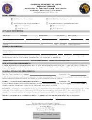 """Form BOF956 """"Application for Tear Gas Dealers Permit and/or Protective Tear Gas System Permit"""" - California"""