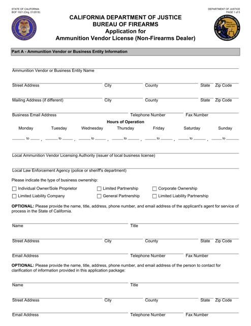 Form BOF1021  Printable Pdf