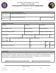 "Form BOF051 ""Entertainment Firearms Permit Application"" - California"