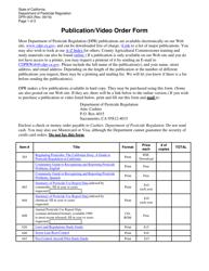 "Form DPR-003 ""Publication/Video Order Form"" - California"