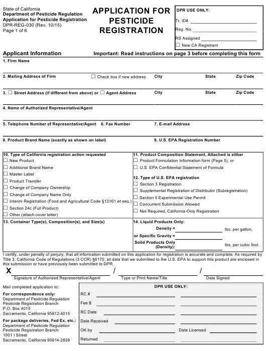 Form DPR-REG-030  Printable Pdf