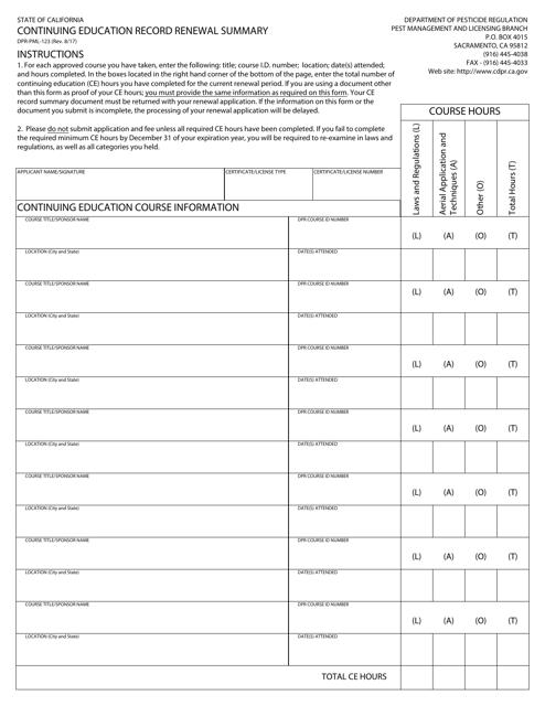Form DPR-PML-123  Printable Pdf