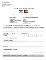 "Form DPR-105 ""Visa/Mastercard Transaction"" - California"