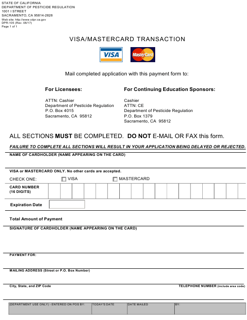 Form DPR-105  Printable Pdf