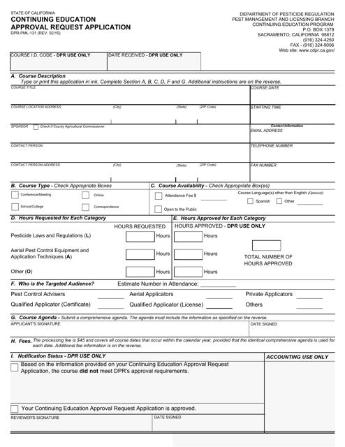Form DPR-PML-131  Printable Pdf