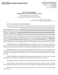 "Form DPR-PML-053 ""Pest Control Business Licensees Bond"" - California"