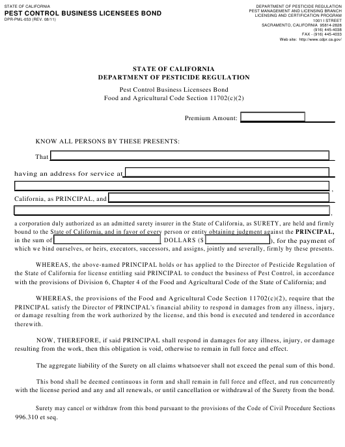 Form DPR-PML-053  Printable Pdf