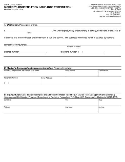 Form PR-PML-120  Printable Pdf