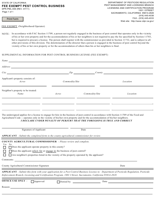 Form DPR-PML-006  Printable Pdf