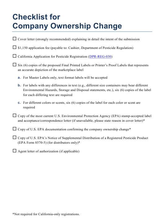 Checklist for Company Ownership Change California Download