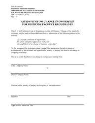 "Form DPR-REG-009 ""Affidavit of No Change in Ownership for Pesticide Product Registrants"" - California"