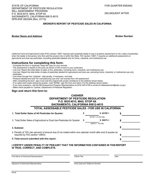Form DPR-ENF-063/064  Printable Pdf