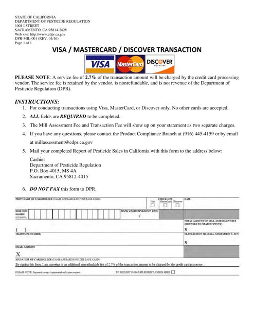 Form DPR-MIL-001  Printable Pdf