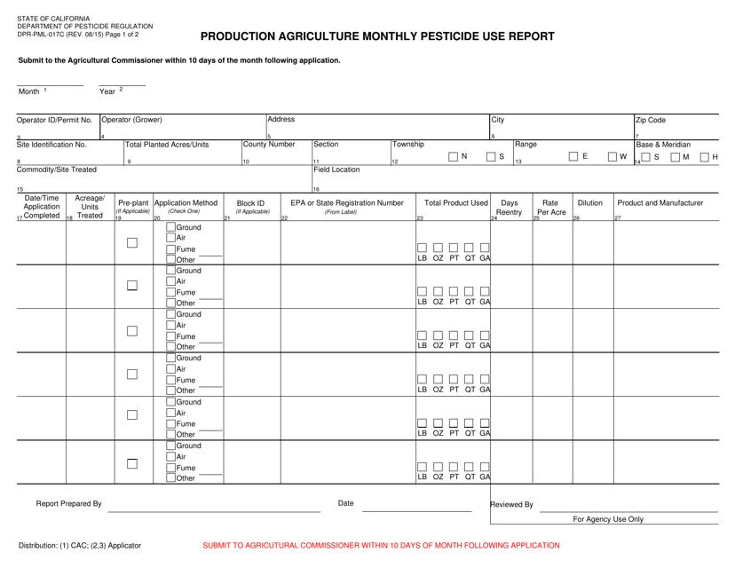 Form DPR-PML-017C  Printable Pdf