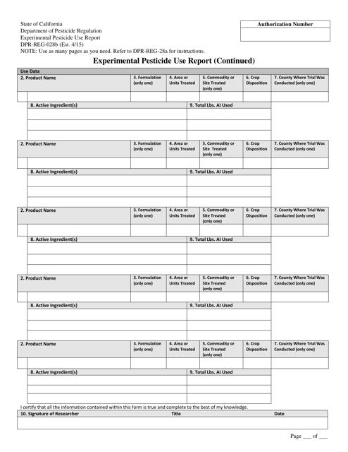 Form DPR-REG-028B  Printable Pdf
