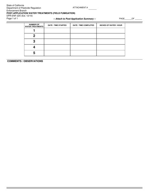 Form DPR-ENF-225  Printable Pdf