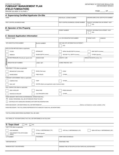 Form DPR-ENF-220  Printable Pdf
