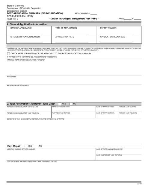 Form DPR-ENF-228  Printable Pdf