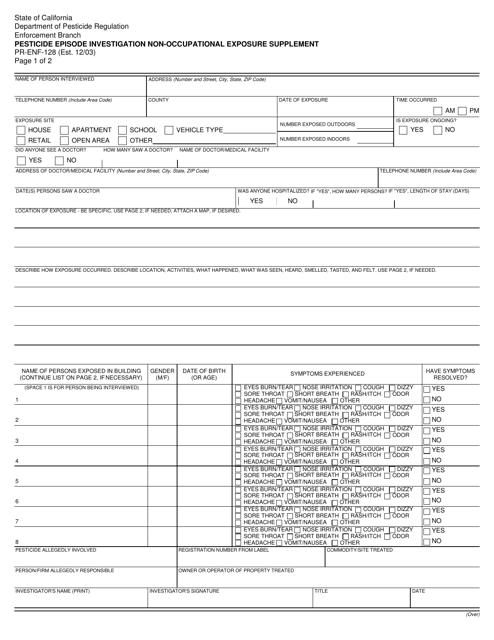 Form PR-ENF-128  Printable Pdf