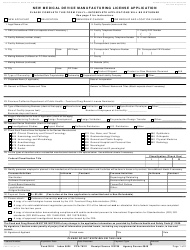 Form CDPH 72N New Medical Device Manufacturing License Application - California