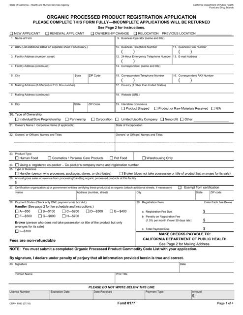 Form CDPH8593 Printable Pdf