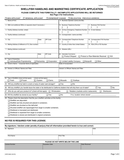 Form CDPH8642  Printable Pdf