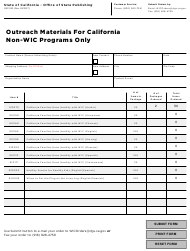 "Form OSP530 ""Outreach Materials for California Non-wic Programs Only"" - California"