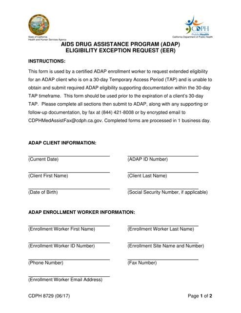 Form CDPH8729  Printable Pdf