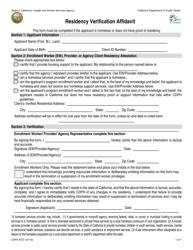 "Form CDPH8727 ""Residency Verification Affidavit"" - California"