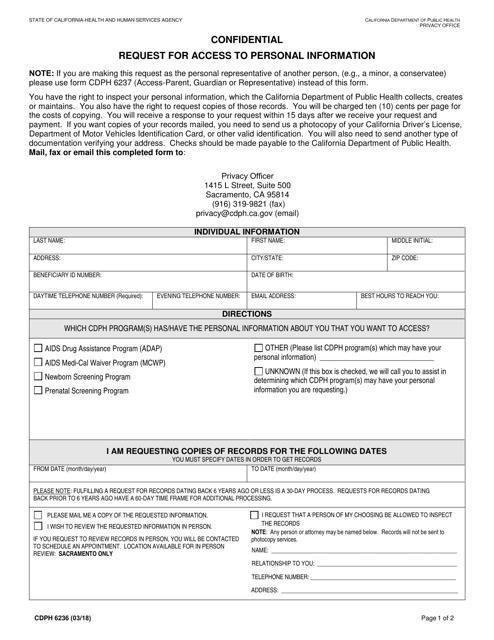 Form CDPH6236  Printable Pdf
