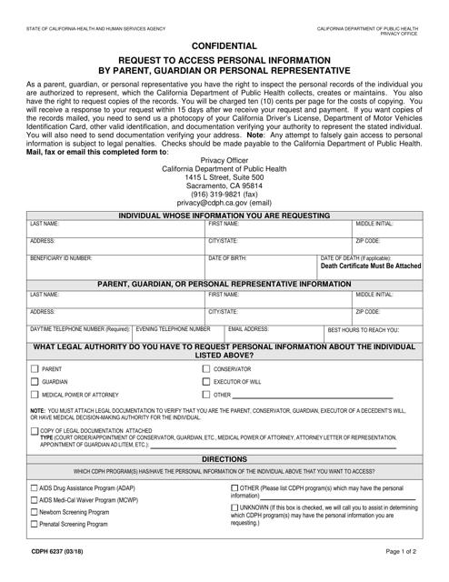 Form CDPH6237 Printable Pdf