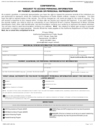 Form CDPH 6237 Request to Access Personal Information by Parent, Guardian or Personal Representative - California