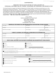 Form CDPH 6245 Request for an Accounting of Disclosures of Personal Information by Parent, Guardian or Personal Representative - California