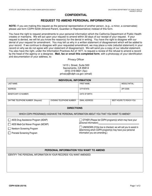 Form CDPH 6238 Fillable Pdf