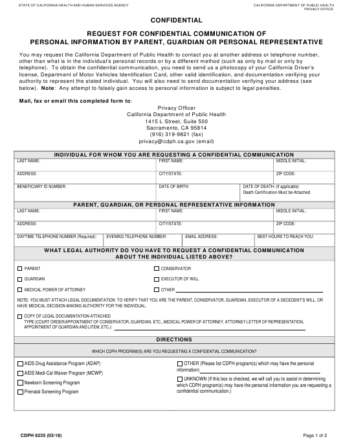 Form CDPH 6235 Printable Pdf