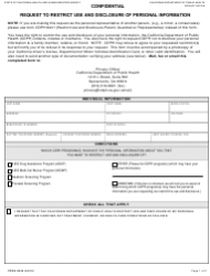 Form CDPH 6240 Request to Restrict Use and Disclosure of Personal Information - California
