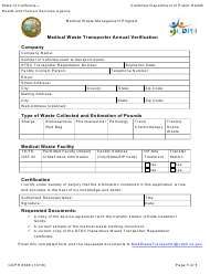 "Form CDPH8668 ""Medical Waste Transponder Annual Verification"" - California"