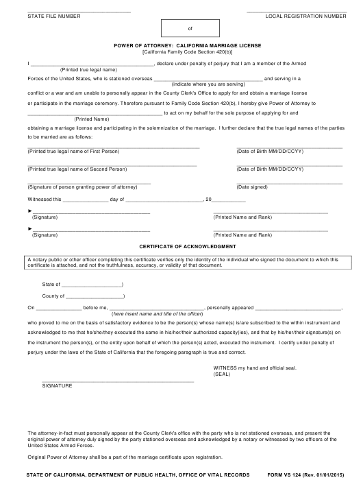 Form VS 124 Download Fillable PDF, Power of Attorney