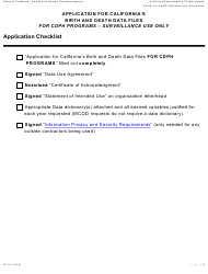 Form VS 147 Application for California's Birth and Death Data Files for Cdph Programs - Surveillance Use Only - California