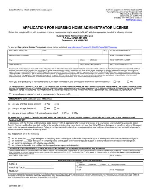 Form CDPH506  Printable Pdf