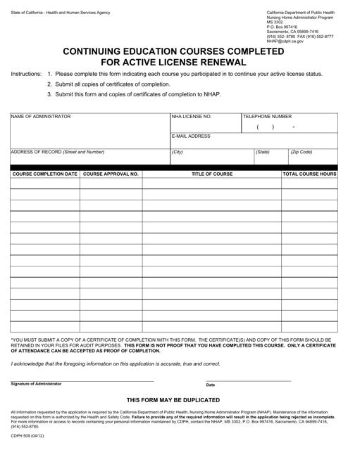 Form CDPH 509 Printable Pdf
